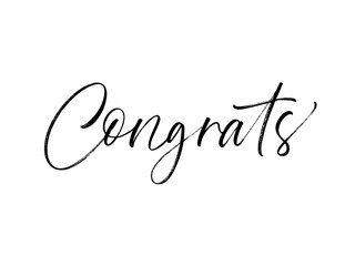 Design of congrats card. Hand drawn brush style modern calligraphy. Vector illustration of handwritten lettering.