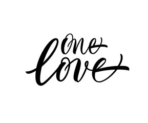 One love card. Hand drawn brush style modern calligraphy. Vector illustration of handwritten lettering.