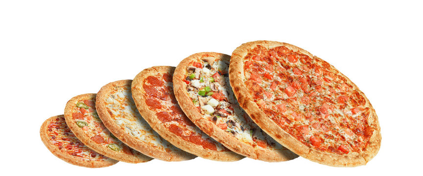 Different pizzas one above the other on a white background. Isolate. restaurant menu concept.