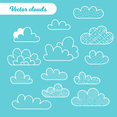 Vector Illustration. Set of Isolated cartoon cloud on blue backgroun. Cloud with different dicoration elements for background, poster, card