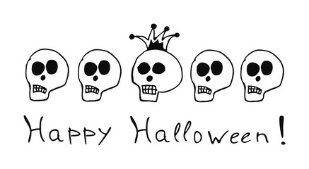 Five human skulls. One of them with a royal crown. Halloween The day of the Dead. Vector drawing.