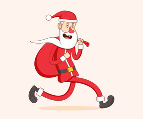 Santa Claus running with a bag in his hands. Merry Christmas and happy New year. Vector illustration