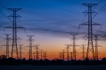 Electric towers at sunrise