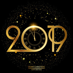 Happy New Year and Christmas card with golden text and clock. Vector