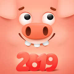 Happy chinese new year 2019 banner card with cute cartoon pig character