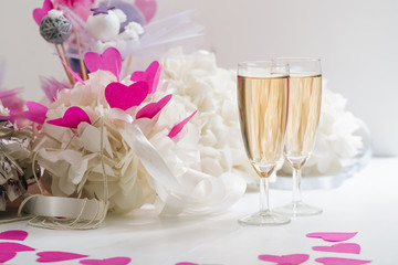 New Year celebration background with champagne and decoration