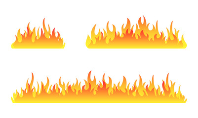 Fire collection. Fire flames vector set. Set of fire banner. Vector illustration.