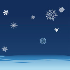 Background of falling snowflakes on the night sky. Winter backdrop for banner, greeting, Christmas and New Year card, invitation, postcard.