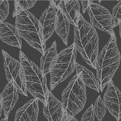 Gray leaves on white background seamless pattern