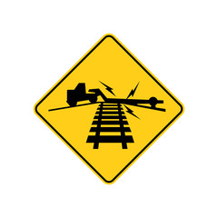 USA traffic road sign. low ground clearance railroad crossing ahead. vector illustration