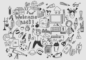Education, learning, studying. Hand drawn vector doodle school icons and symbols