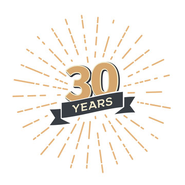 Thirty five anniversary retro vector emblem isolated template. Vintage logo Thirtieth 30th years with ribbon and fireworks on white background