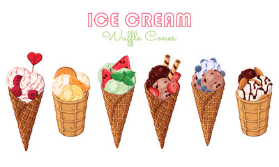 Vector illustrations on the sweets theme; set of different kinds of ice cream in waffle cones decorated with berries, chocolate or nuts. Realistic isolated objects for your design.