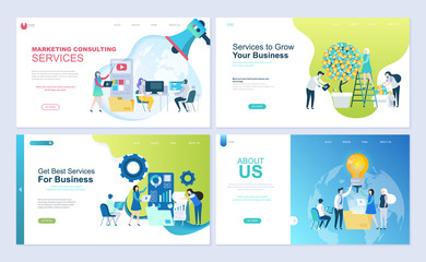 Set of landing page template for business, consulting, finance and marketing. Modern vector illustration flat concepts decorated people character for website and mobile website development.