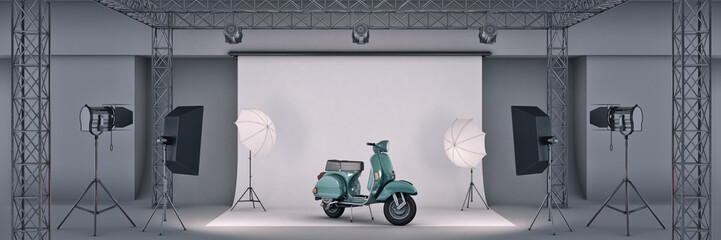 photo studio with a motorbike. 3d rendering