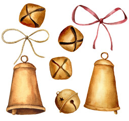 Watercolor Christmas bells set. Hand painted golden bells with ribbons isolated on white background. Holiday symbol. Collection of New Year decor.