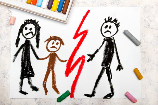 Colorful drawing: Representation of marriage break up or divorce.