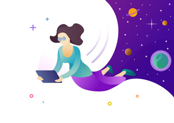 Woman working on laptop. Planning meetings, online chatting, social networks, online shopping, airline tickets booking. Modern style vector illustration for landing page, website and banners.