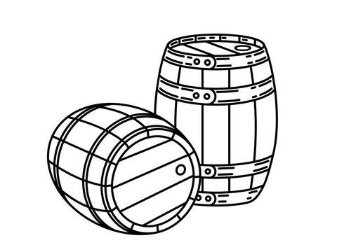 Couple of wood wine or whiskey barrels Stylish Single Weight Line Art Logo