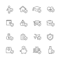 insurance accident protection line black icons set