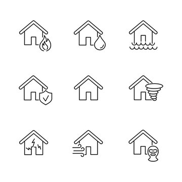 home property protection insurance line black icons set