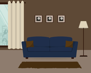 Brown living room with a blue sofa. There is also a big window with curtains, pictures and a lamp in the image. Vector illustration.