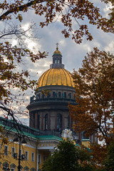 The dome of St. Isaac's Cathedral in St. Petersburg. A work of classical architecture. Author Voronikhin.