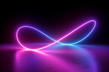 3d render, infinity symbol, neon light, loop, ultraviolet spectrum, quantum energy, pink blue violet glowing line, string, abstract background