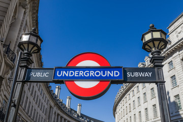 Custom blinds landscapes with your photo View of the underground station sign at Piccadilly Circus