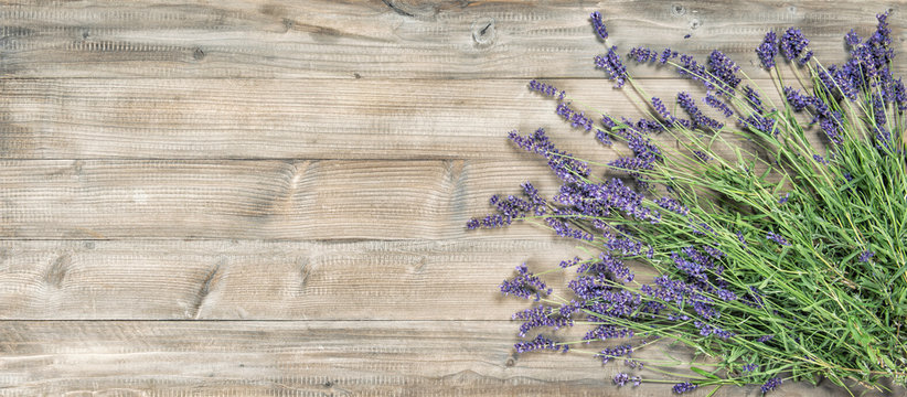Lavender flowers rustic wooden background Vintage picture