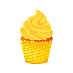 Vector cartoon style illustration of sweet cupcake. Delicious sweet dessert decorated with yellow creme. Muffin isolated on white background.