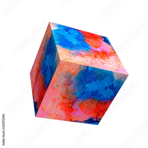 Milticolor Watercolor Background On Cube Surface For