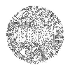 DNA. Circle doodle Illustration