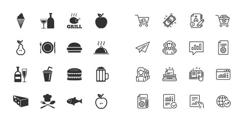 Set of Food and Drinks icons. Restaurant meal, Wine and Cheese signs. Burger, Milkshake and Beer symbols. Paper plane, report and shopping cart icons. Group of people. Vector