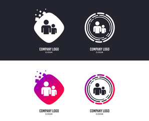 Logotype concept. Group of people sign icon. Share symbol. Logo design. Colorful buttons with icons. Vector