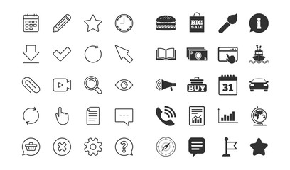 Document, Time and Calendar line icons. Question, Chat and Pencil signs. Cogwheel, Download and Attach clip symbols. Mouse cursor, Magnifier and Shopping cart. Vector