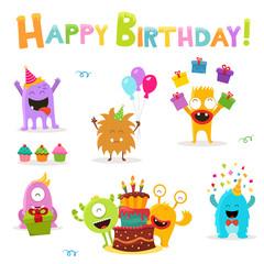 Cute Birthday Monsters Set