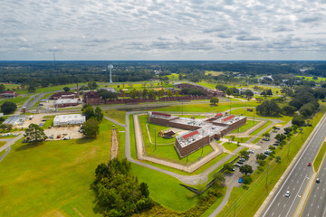 Aerial photo of a prison correctional institution
