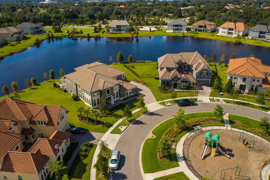 Aerial drone image of luxury homes in Orlando Florida