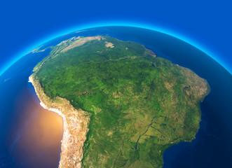 Vista satellitare dell'Amazzonia, cartina geografica, stati del Sud America, rilevi e pianure, cartina fisica. Disboscamento foresta Wall mural