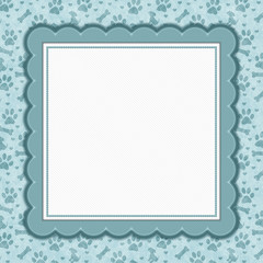 Teal and white dog pattern square border with copy space