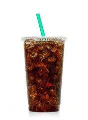 Fototapeta Cola with ice and straw in take away cup isolated on white background