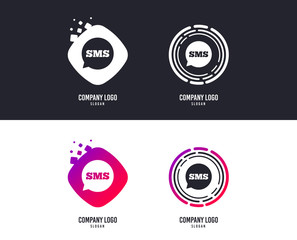 Logotype concept. SMS speech bubble icon. Information message symbol. Logo design. Colorful buttons with icons. Vector