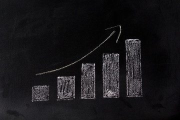 Growing graph on blackboard. Sales growth concept