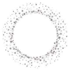 Round frame of random scatter silver stars on white background. Vector