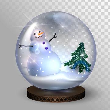 Glass snow globe with snowman and christmas tree, christmas gift