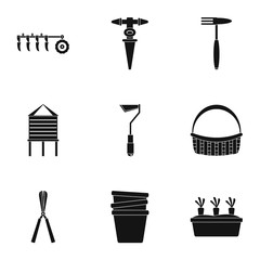 Garden tool icon set. Simple set of 9 garden tool vector icons for web design on white background