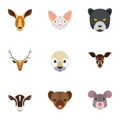Animal head icon set. Flat set of 9 animal head vector icons for web design