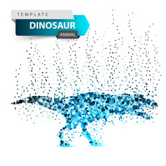 Dino, dinosaur - ice dot illustration. Vector eps 10