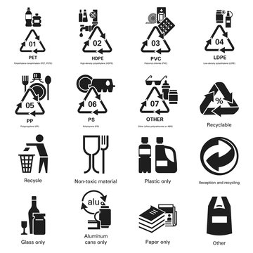 Recycles icon set. Simple set of recycles vector icons for web design on white background